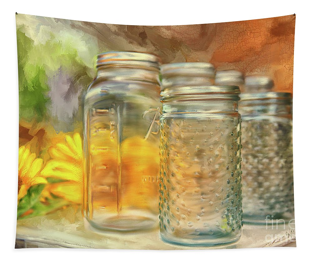 Sunflower Tapestry featuring the digital art Sunflowers And Jars by Lois Bryan