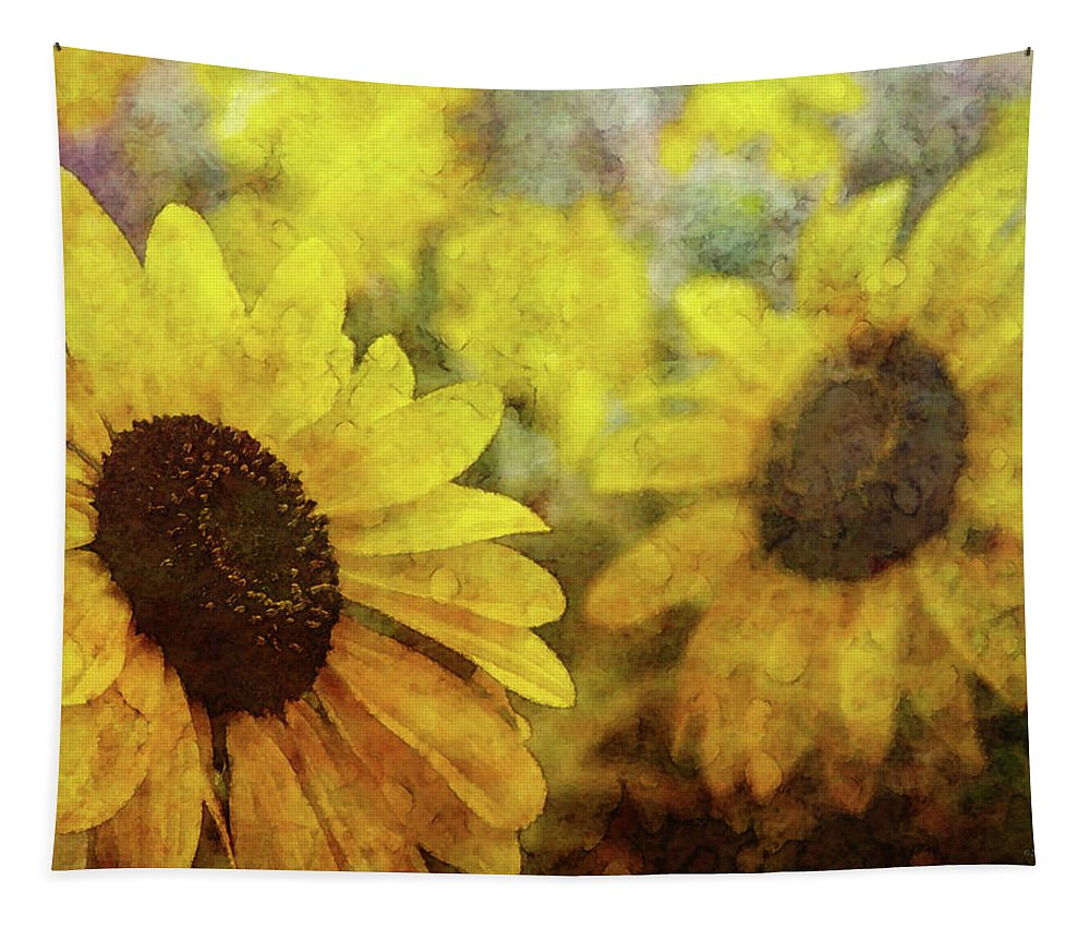 Impressionist Tapestry featuring the photograph Sunflowers And Water Spots 2773 Idp_2 by Steven Ward