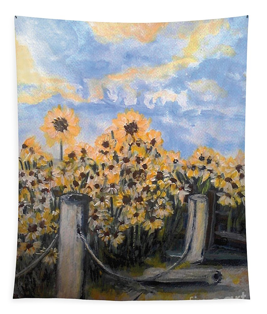 Sunflowers Tapestry featuring the painting Sunflowers At Rest Stop Near Great Sand Dunes by Holly Carmichael