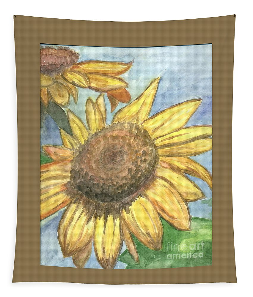 Daisy Tapestry featuring the painting Sunflowers by Jacqueline Athmann