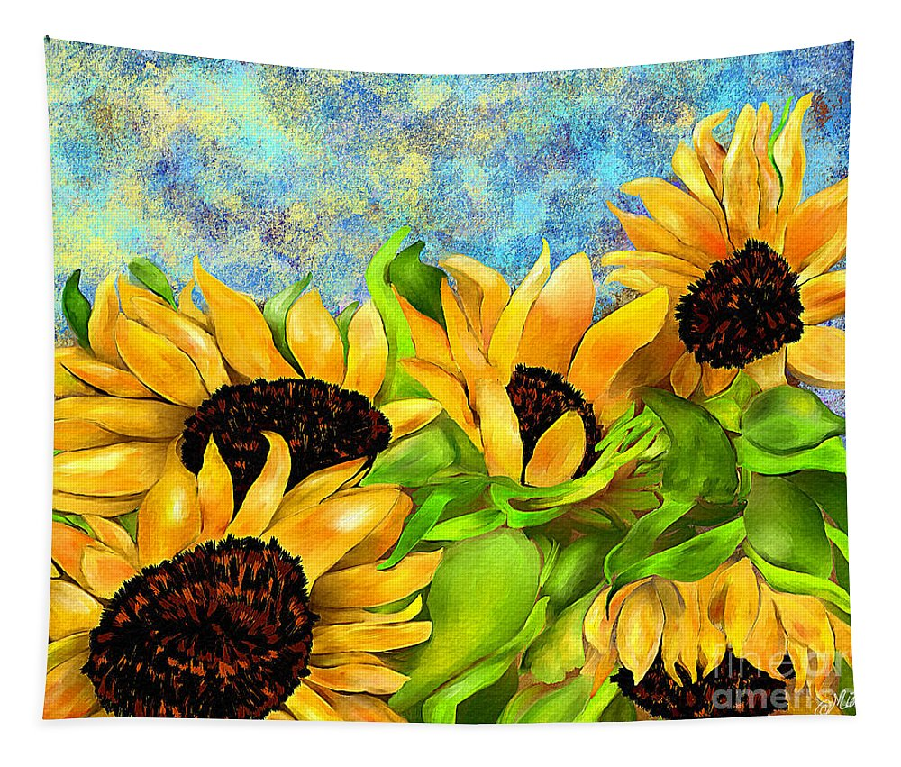 Flowers Tapestry featuring the digital art Sunflowers On Holiday by Mia Hansen