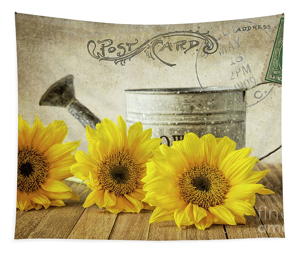 Sunflowers Tapestry featuring the photograph Sunflowers Postcard by Elisabeth Lucas