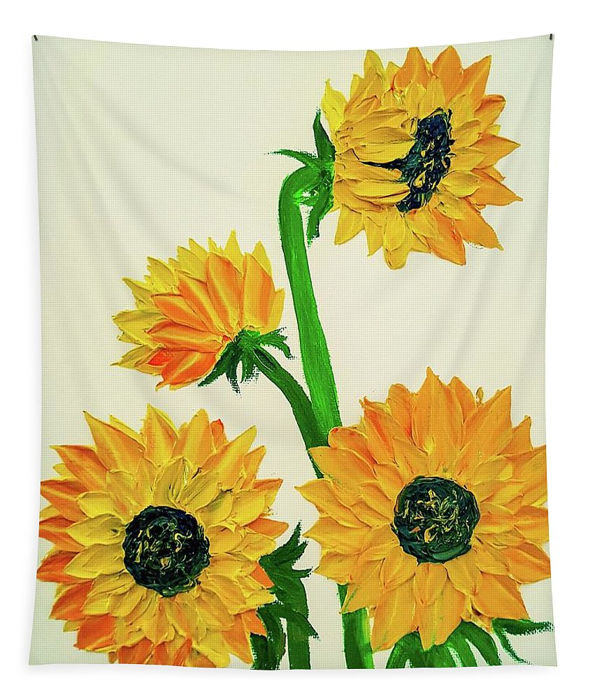 Sunflowers Tapestry featuring the painting Sunflowers Using Palette Knife by Jessica T Hamilton