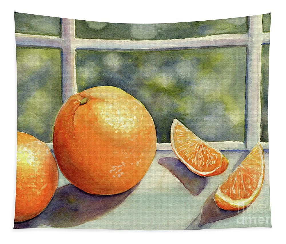 Oranges Tapestry featuring the painting Sunkissed Oranges by Malanda Warner