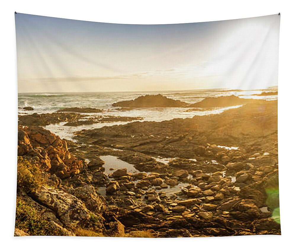 Coastline Tapestry featuring the photograph Sunlit Seaside by Jorgo Photography - Wall Art Gallery