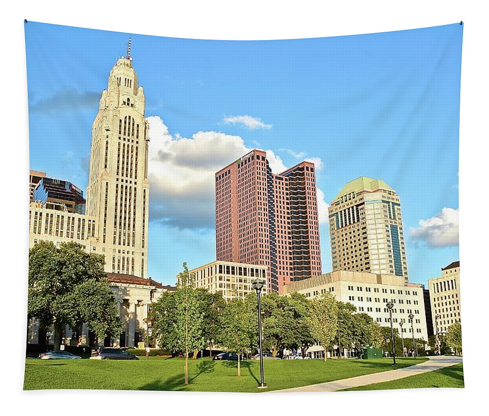 Columbus Tapestry featuring the photograph Sunny Columbus by Frozen in Time Fine Art Photography
