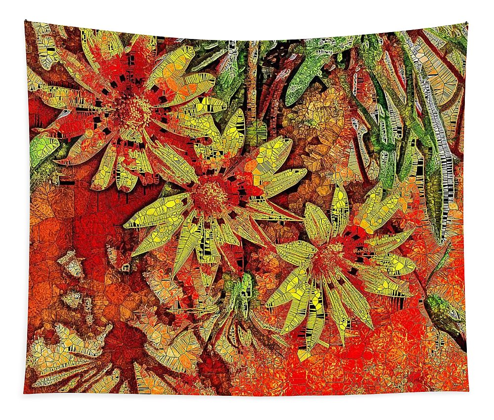 Sun Tapestry featuring the digital art Sunny Day Yellow Daisies by Mo Barton