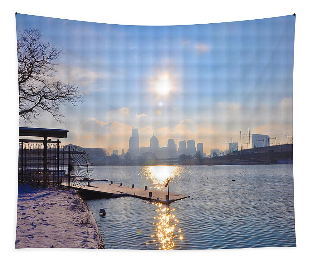Philadelphia Tapestry featuring the photograph Sunny Schuylkill River In Winter by Bill Cannon