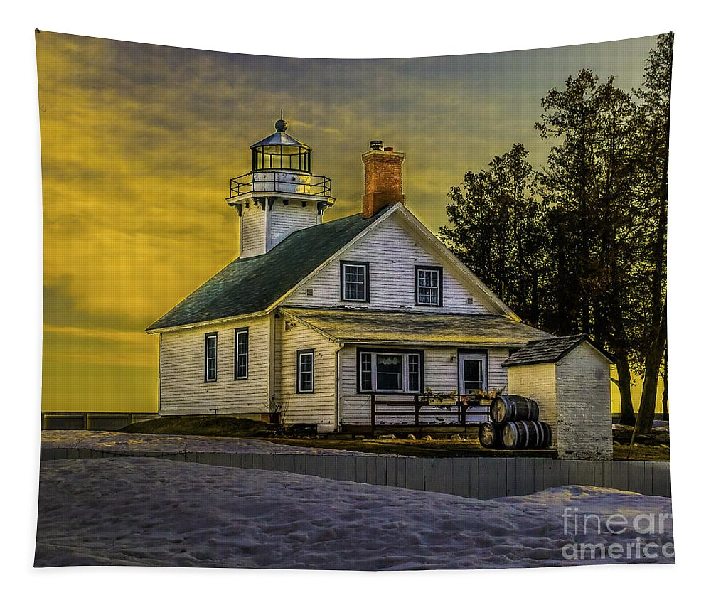 Mission Tapestry featuring the photograph Sunrise At Mission Point Light by Nick Zelinsky