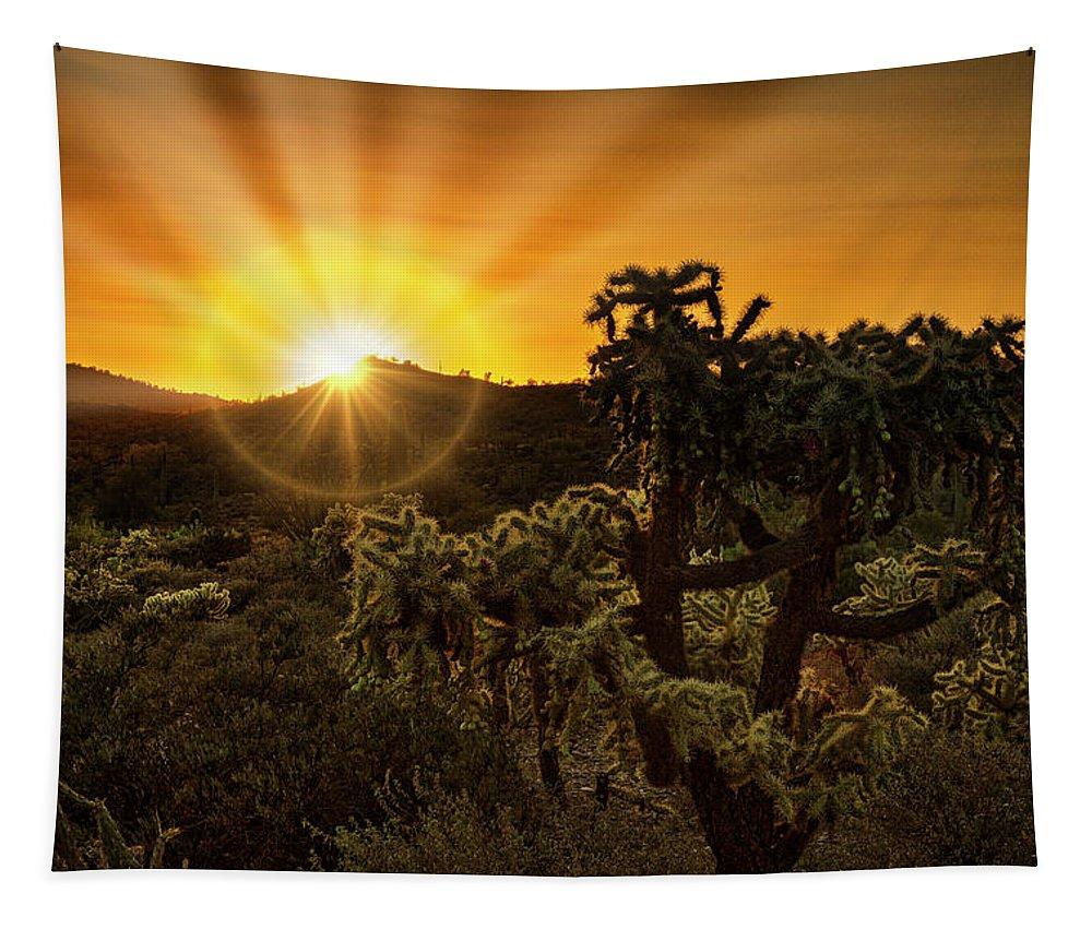 Sunrise Tapestry featuring the photograph Sunrise Done With An Arizona Flare by Saija Lehtonen