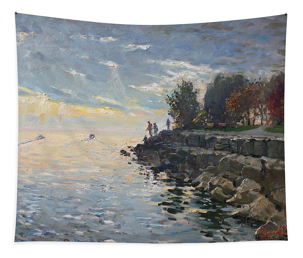 Lake Shore Tapestry featuring the painting Sunrise Fishing by Ylli Haruni