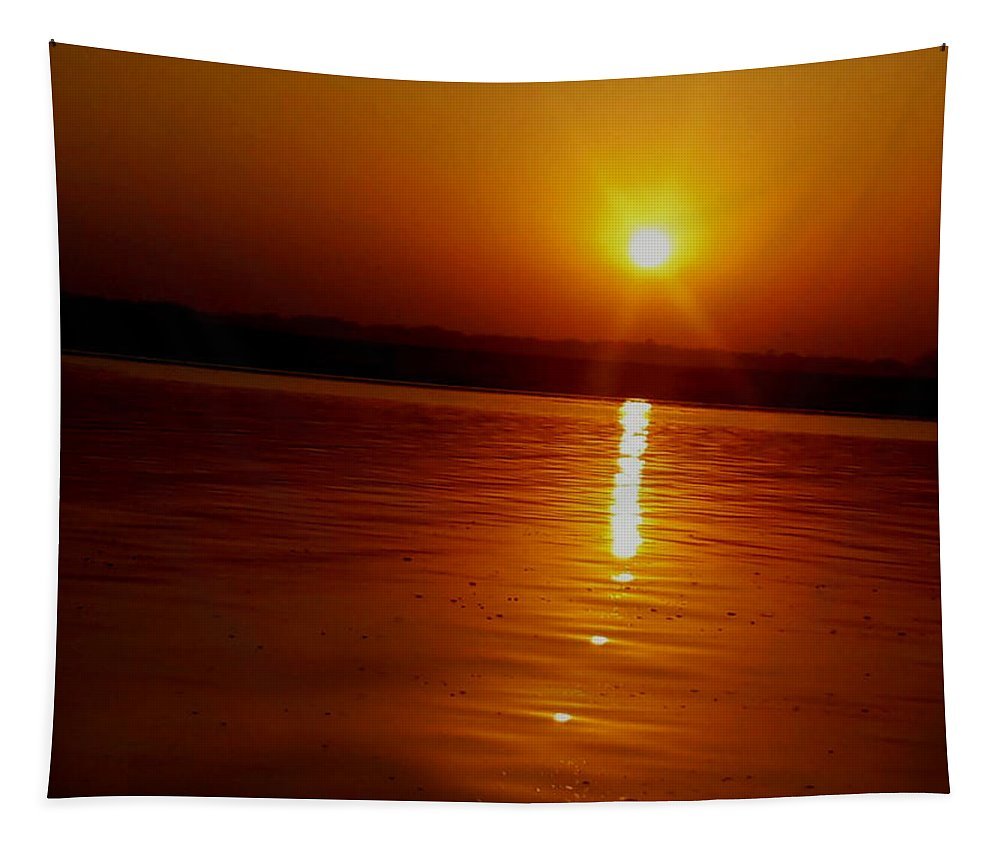 Sunrise Tapestry featuring the photograph Sunrise In Varanasi by Nick Photography