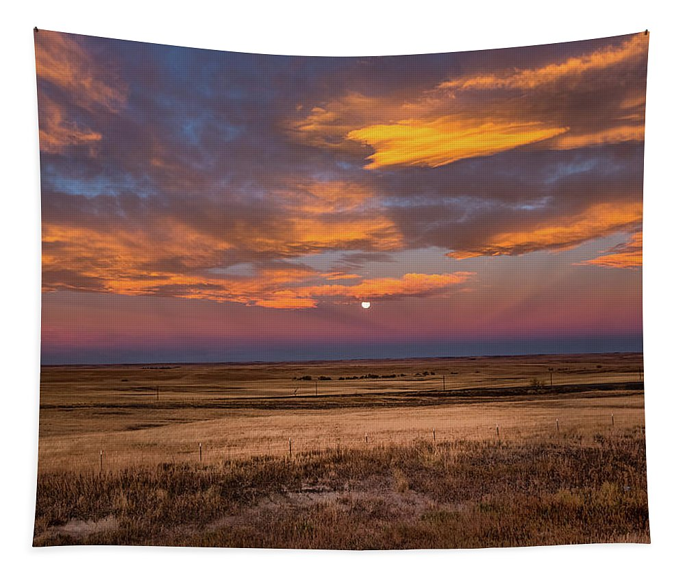 Sunrise Tapestry featuring the photograph Sunrise On The Plains - Moon Over Prairie In Eastern Colorado by Southern Plains Photography