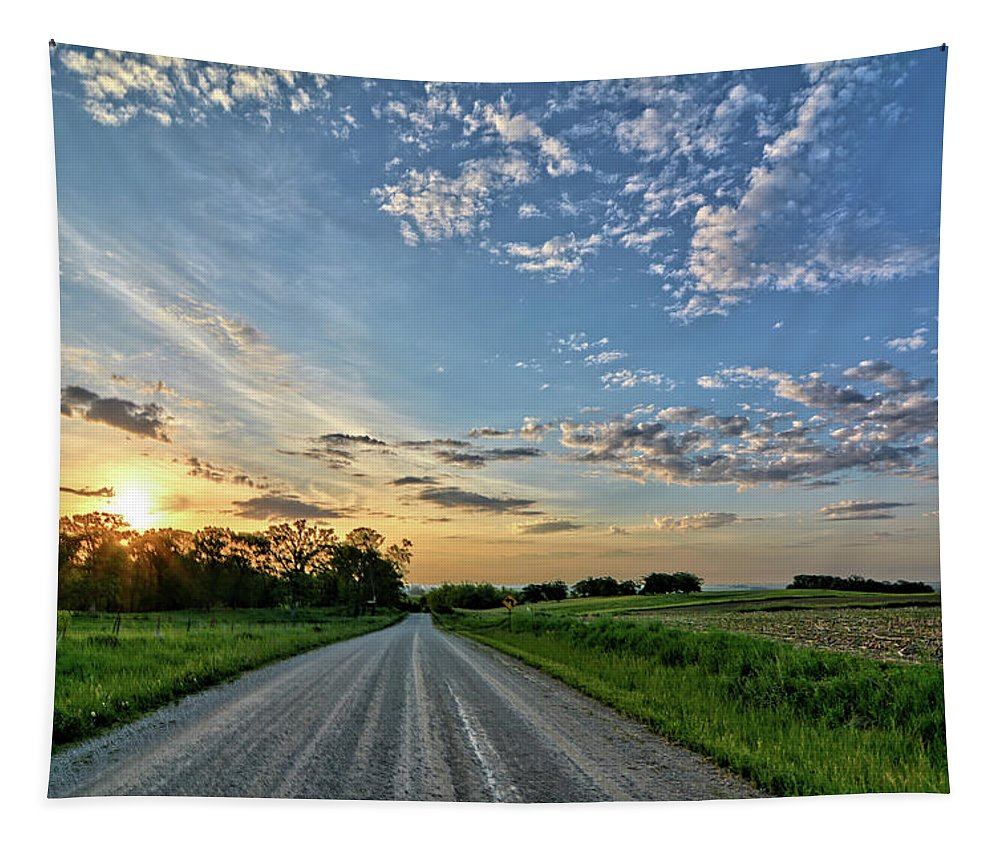 Sunrise Tapestry featuring the photograph Sunrise On The Road by Bonfire Photography
