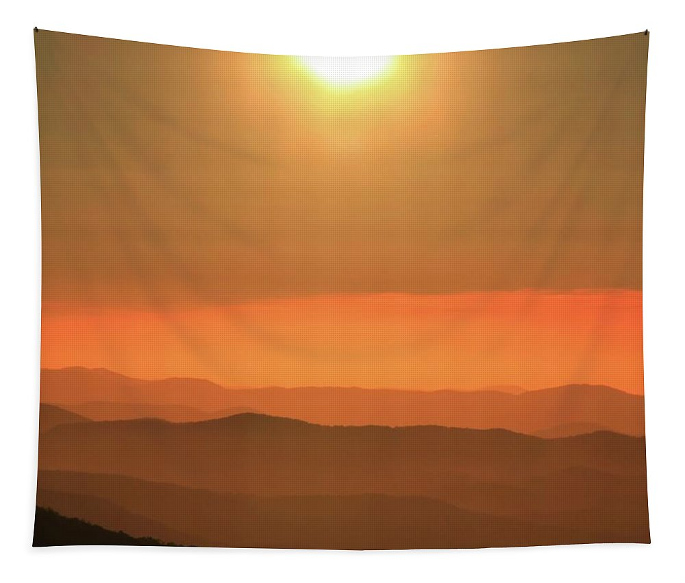 Sunrise Over The Blue Ridge Parkway Tapestry featuring the photograph Sunrise Over The Blue Ridge Parkway by Dan Sproul