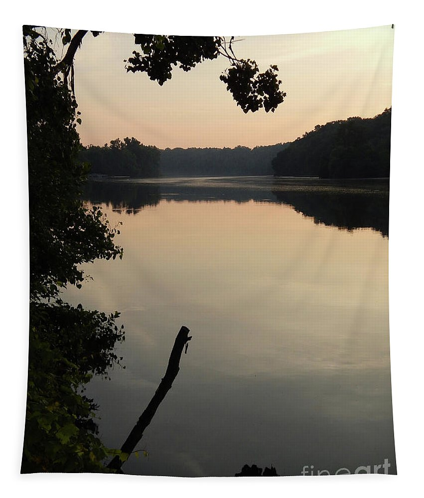Ann Arbor Tapestry featuring the photograph Sunrise Over The Huron River by Phil Perkins
