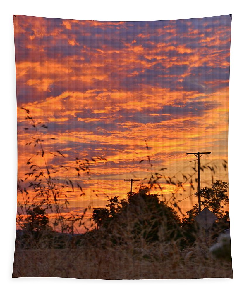 Sunrise Over The Wheat Fields Tapestry featuring the photograph Sunrise Over The Wheat Fields by Lisa Wooten