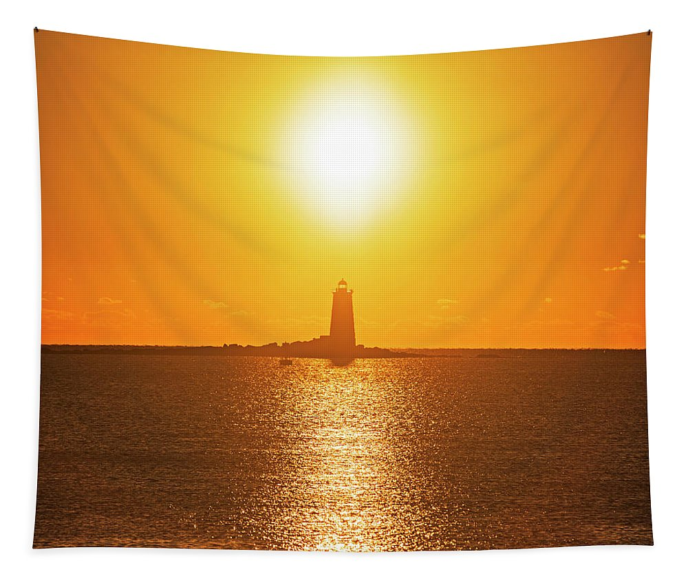Portsmouth Tapestry featuring the photograph Sunrise Over Whaleback Light Portsmouth Nh New Hampshire by Toby McGuire