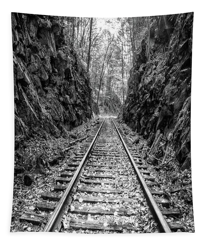 Appalachia Tapestry featuring the photograph Sunrise Rails Black And White Vertical Panorama by Debra and Dave Vanderlaan