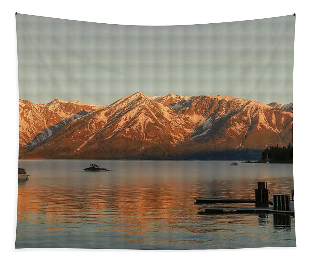 Sunrise Reflections Tapestry featuring the photograph Sunrise Reflections On Colter Bay by Dan Sproul