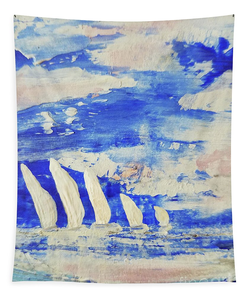 Abstract Tapestry featuring the painting Sunrise Regatta by Sharon Eng