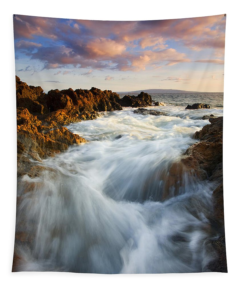 Hawaii Tapestry featuring the photograph Sunrise Surge by Mike Dawson