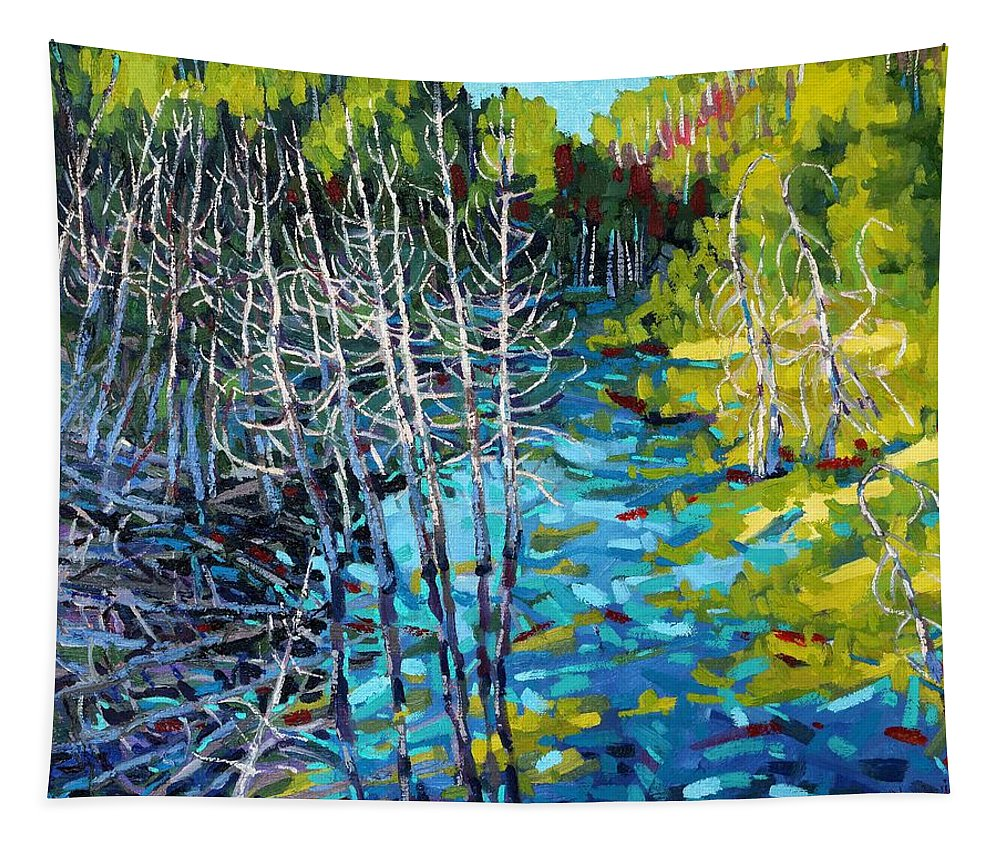 Swamp Tapestry featuring the painting Sunrise Swamp by Phil Chadwick