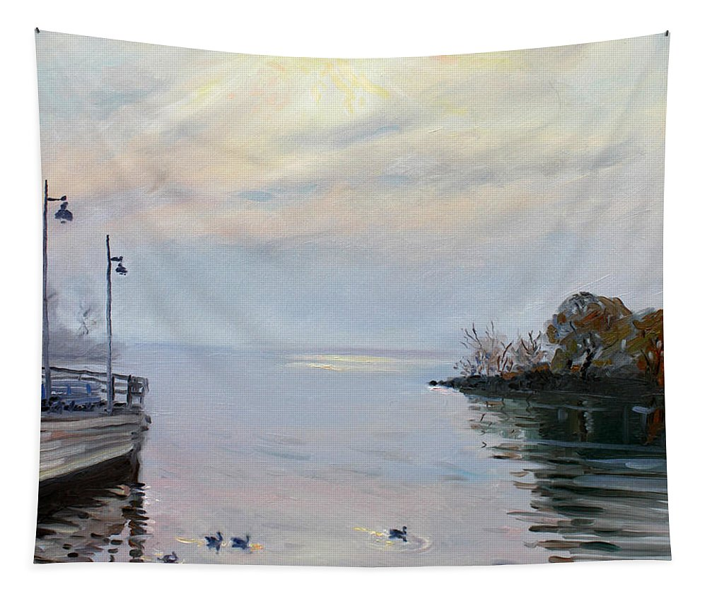 Seascape Tapestry featuring the painting Sunrise by Ylli Haruni