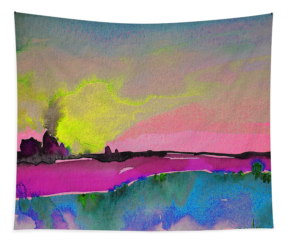 Landscape Tapestry featuring the painting Sunset 09 by Miki De Goodaboom