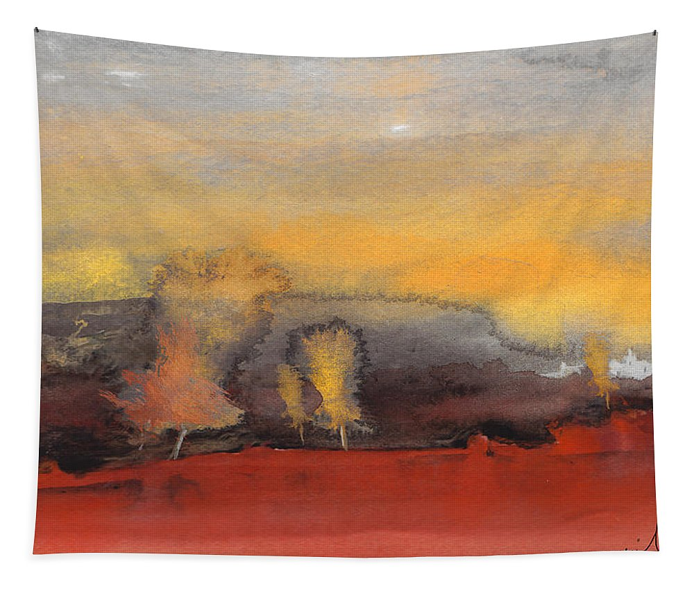 Watercolour Landscape Tapestry featuring the painting Sunset 23 by Miki De Goodaboom