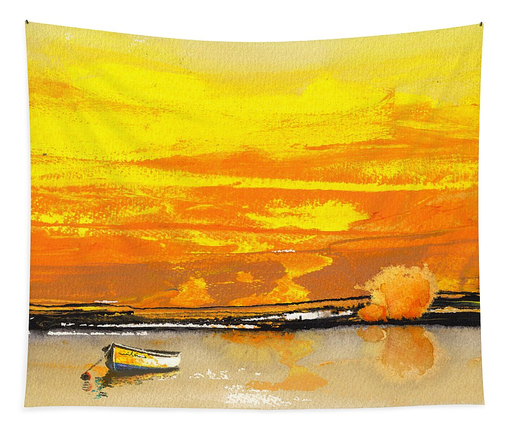 Watercolour Landscape Tapestry featuring the painting Sunset 24 by Miki De Goodaboom