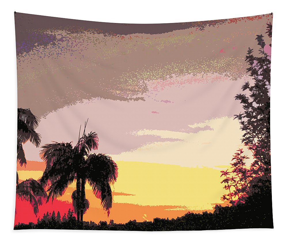 Linda Brody Tapestry featuring the digital art Sunset Abstract by Linda Brody