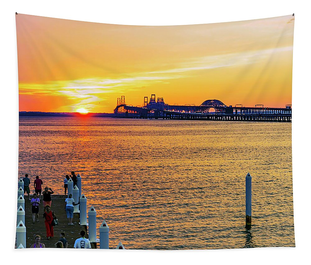 2d Tapestry featuring the photograph Sunset Across The Chesapeake by Brian Wallace