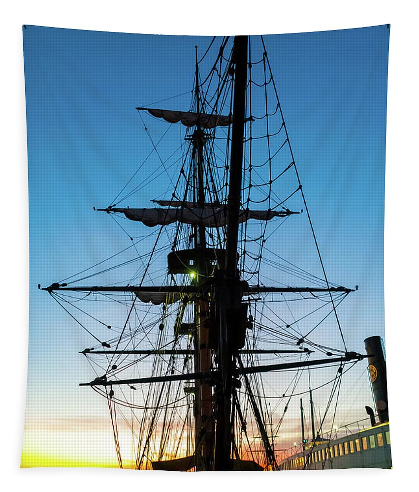 Boat Tapestry featuring the photograph Sunset Ahoy by Pamela Williams