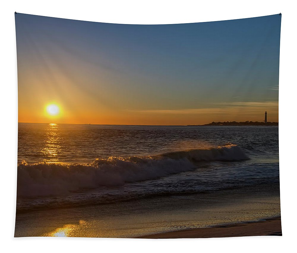 Sunset Tapestry featuring the photograph Sunset And The Sea - Cape May New Jersey by Bill Cannon