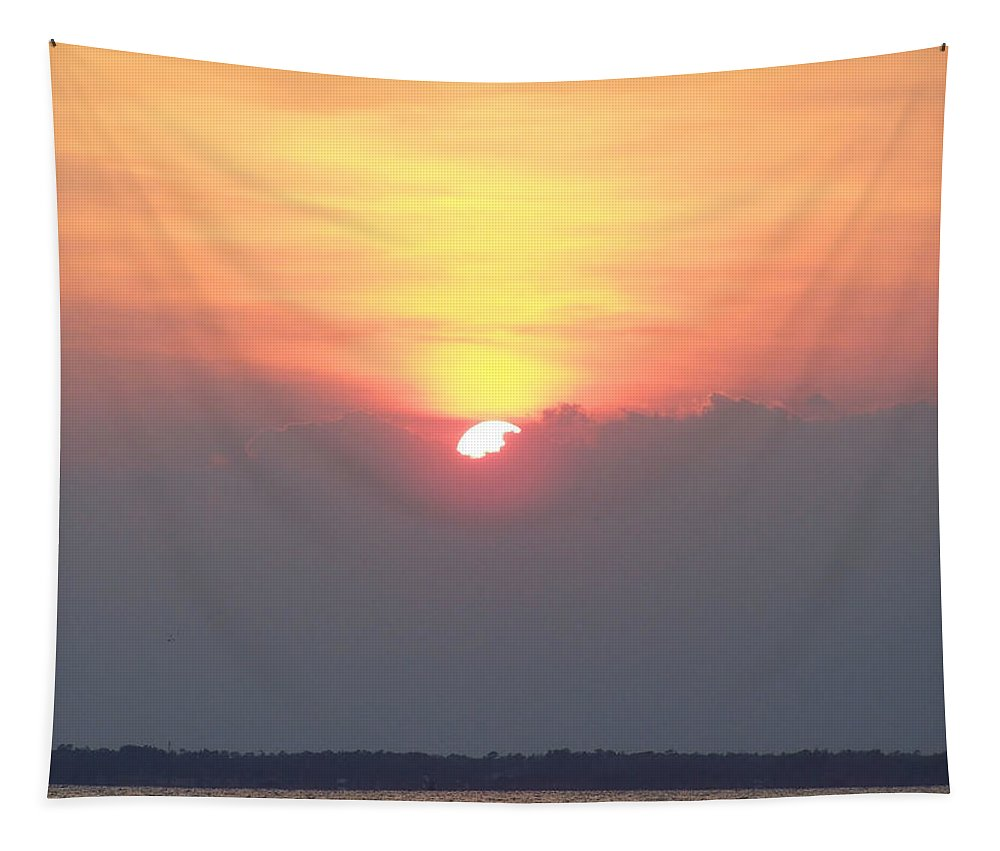Sunset Tapestry featuring the photograph Sunset And The Storm by Sandi OReilly