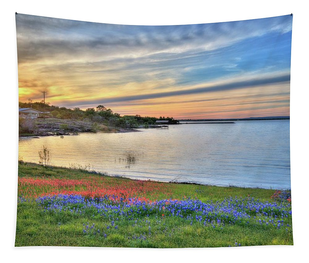 Bluebonnets Tapestry featuring the photograph Sunset At Lake Buchanan by Lynn Bauer