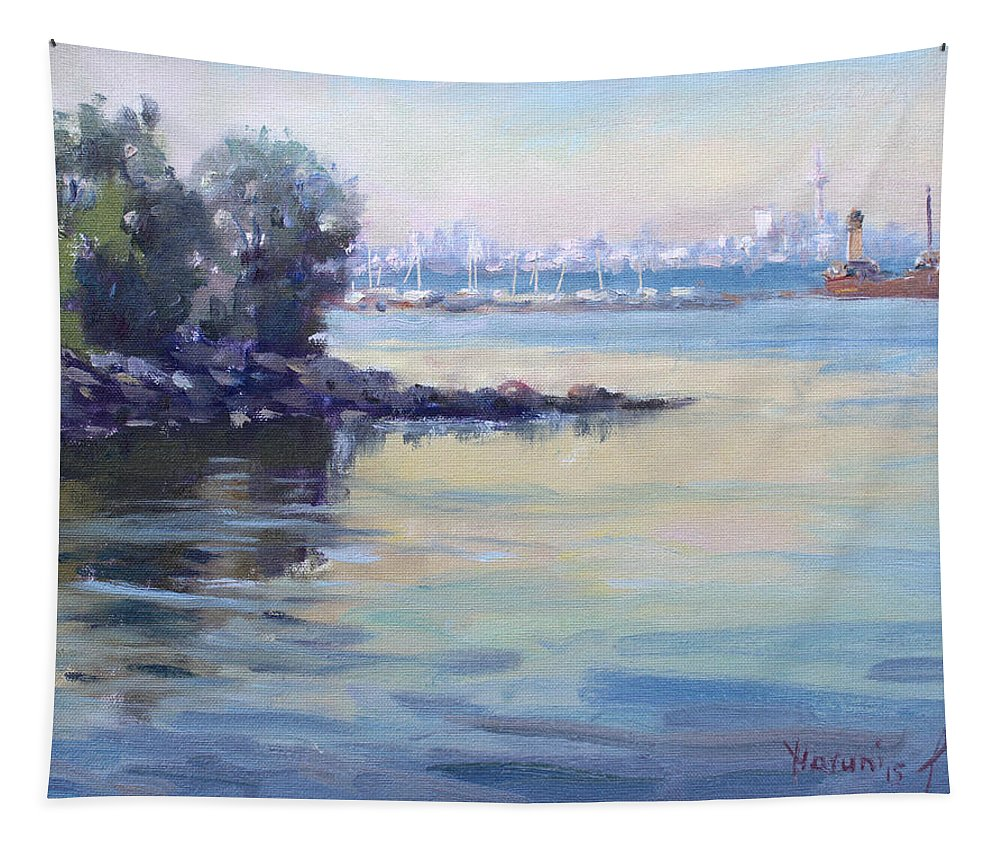 Sunset Tapestry featuring the painting Sunset At Lake Ontario by Ylli Haruni