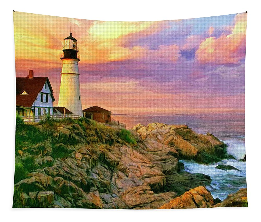 Sunset At Portland Head Tapestry featuring the painting Sunset At Portland Head by Dominic Piperata