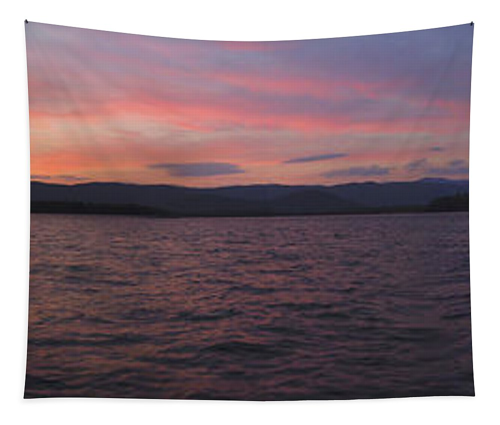 Lake Tapestry featuring the photograph Sunset At Squam Lake New Hampshire by Nancy Griswold
