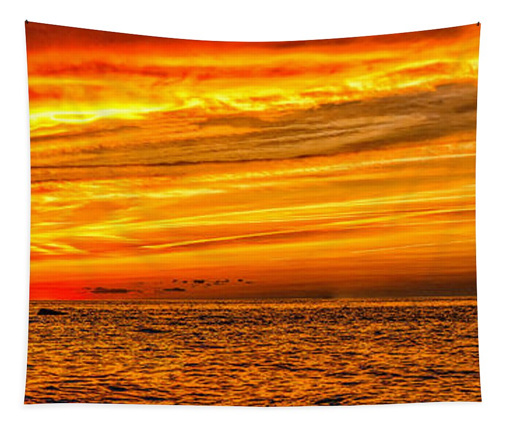Cape May Tapestry featuring the photograph Sunset At The Ss Atlantus - Pano by Nick Zelinsky