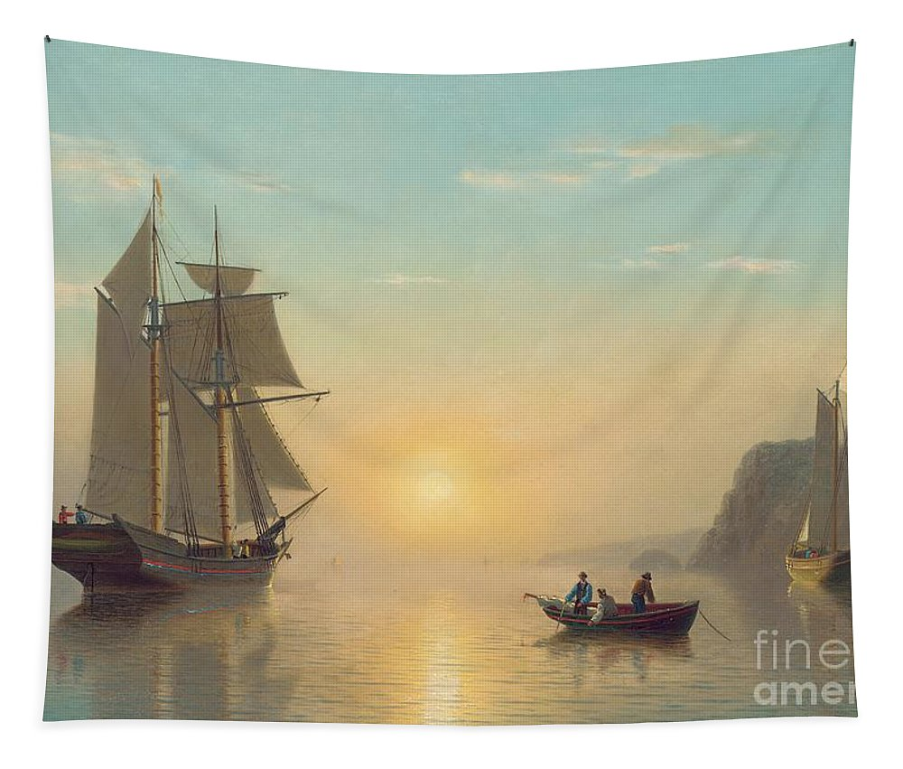 Boat Tapestry featuring the painting Sunset Calm in the Bay of Fundy by William Bradford