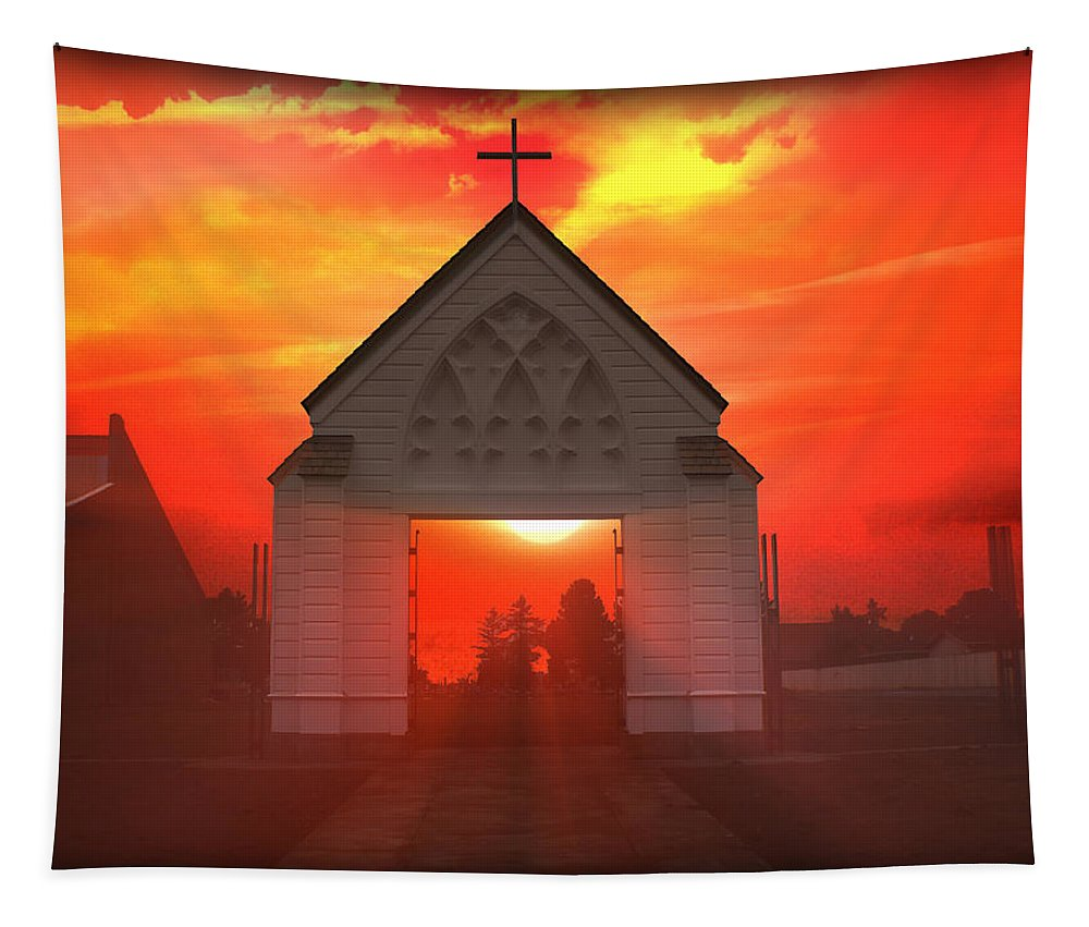 Sunrise Tapestry featuring the photograph Sunset Church by Gravityx9  Designs