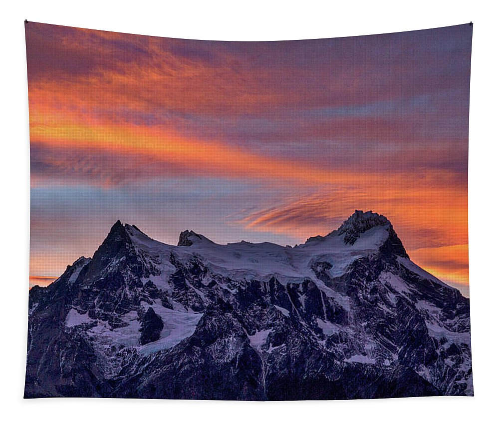 Patagonia Tapestry featuring the photograph Sunset Clouds At Cerro Paine Grande #3 - Chile by Stuart Litoff