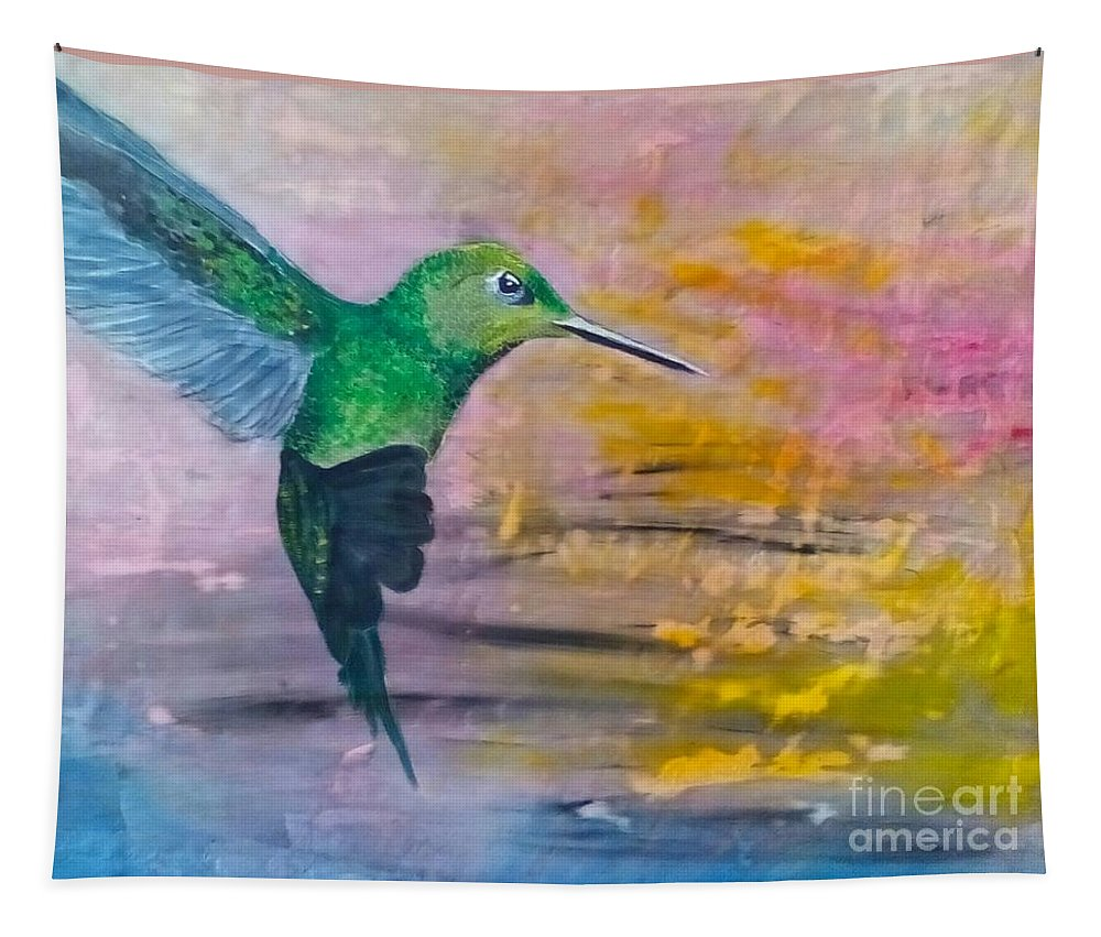 Hummingbird Tapestry featuring the painting Sunset Dancer by J Bauer