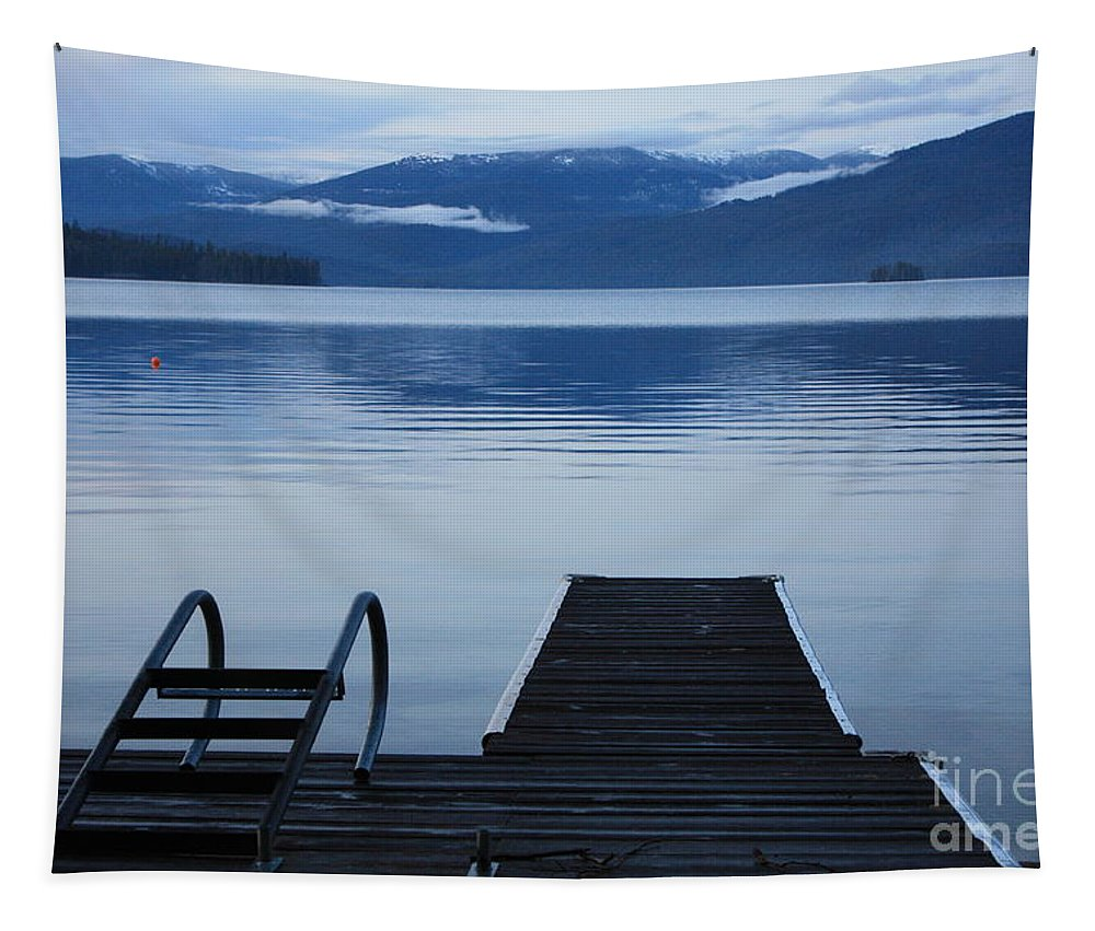 Priest Lake Tapestry featuring the photograph Sunset Dock At Priest Lake by Carol Groenen