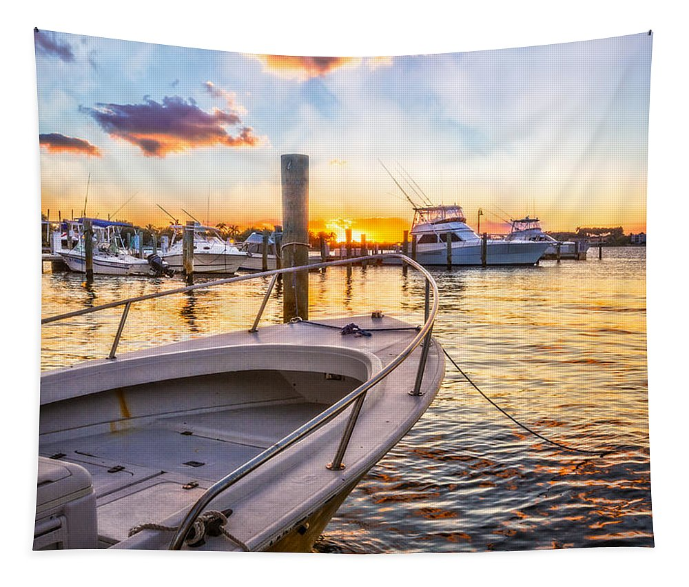 Boats Tapestry featuring the photograph Sunset Harbor by Debra and Dave Vanderlaan