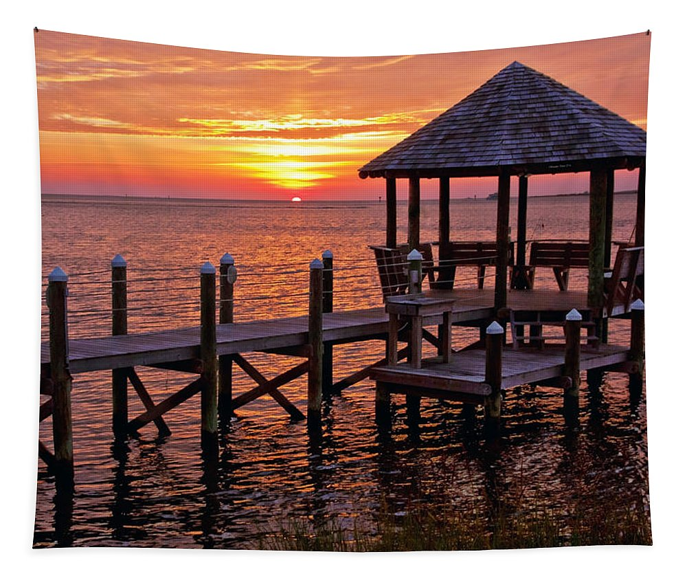 Photography By Suzanne Stout Tapestry featuring the photograph Sunset In Hatteras by Suzanne Stout