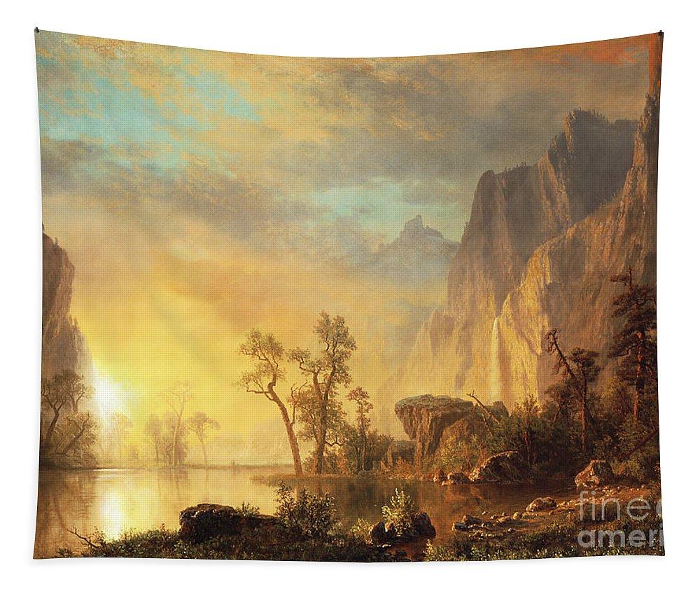 Bierstadt Tapestry featuring the painting Sunset in the Rockies by Albert Bierstadt