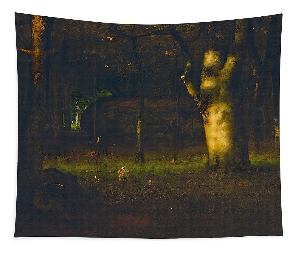 Sunset In The Woods Tapestry featuring the painting Sunset In The Woods by George Inness